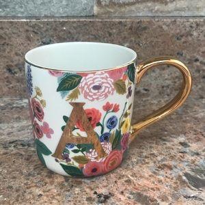 """Anthropologie Floral """"A"""" Mug"""